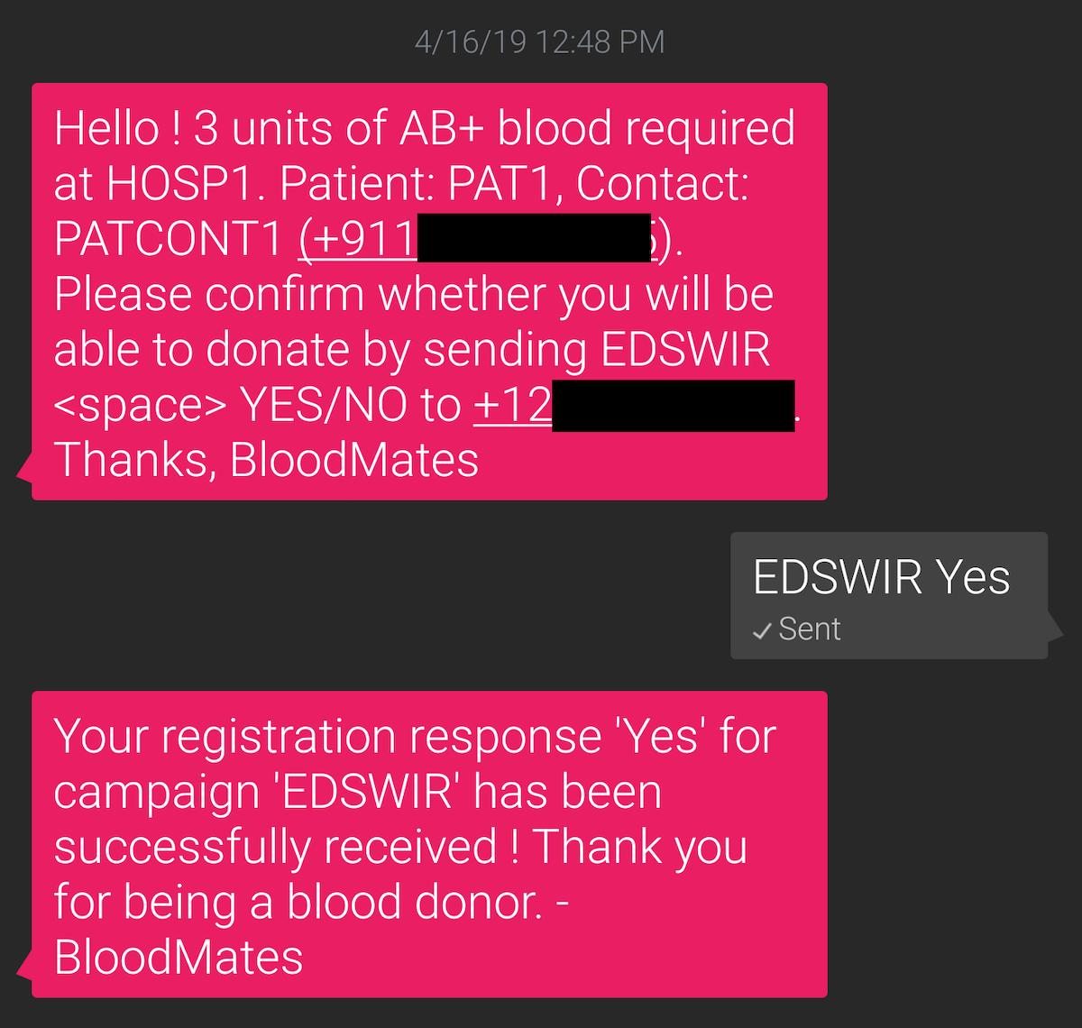 Send and receive responses via SMS using Messagebird and