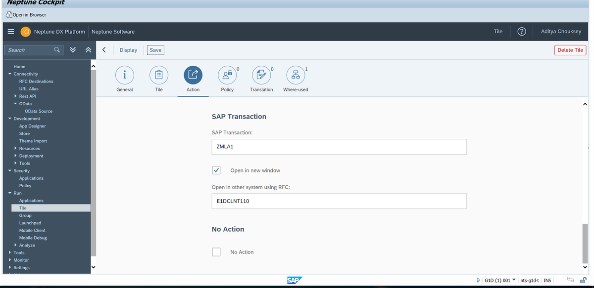 Call custom SAP Tcode from Neptune Launchpad tile (GW system) to
